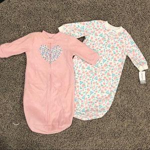 2 baby girl sleep sacks 0-9M, one NWT